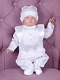 Літній комплект для новонародженого хлопчика на виписку Ангел + Фрак New білий, фото 4
