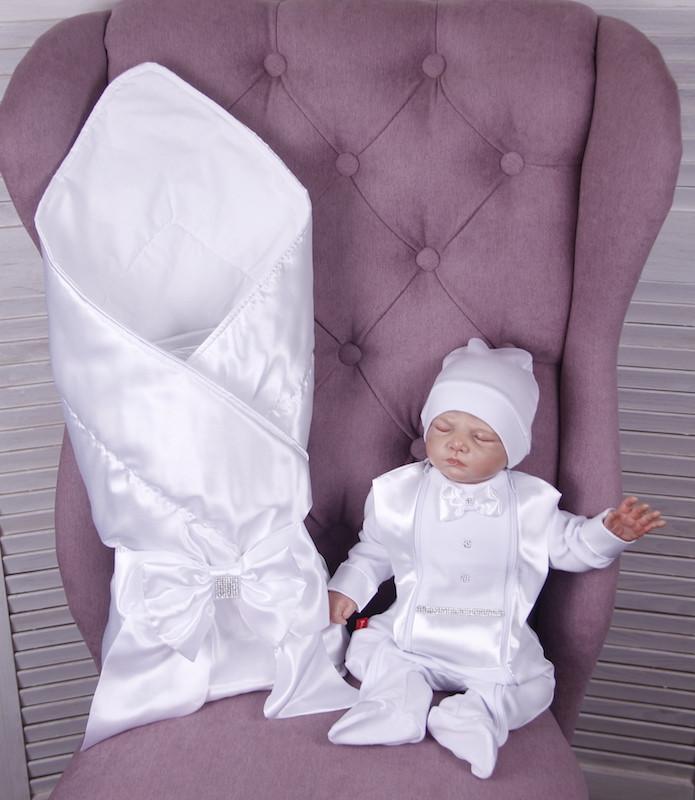 Літній комплект для новонародженого хлопчика на виписку Ангел + Фрак New білий