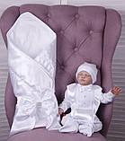 Літній комплект для новонародженого хлопчика на виписку Ангел + Фрак New білий, фото 8