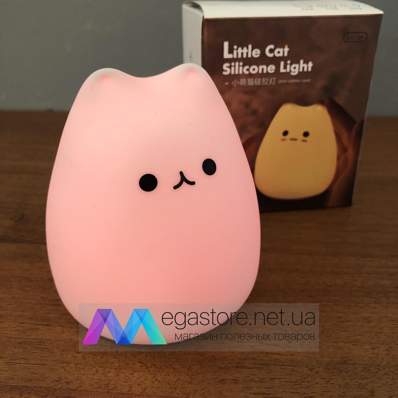 Ночной светильник Котик силиконовый led ночник неоновый кошечка Little Cat Silicone Light детский
