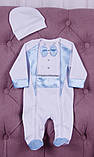 Летний комплект для новорожденного мальчика на выписку Ангел+Фрак New голубой, фото 4