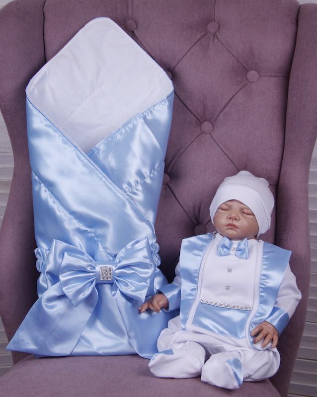 Летний комплект для новорожденного мальчика на выписку Ангел+Фрак New голубой