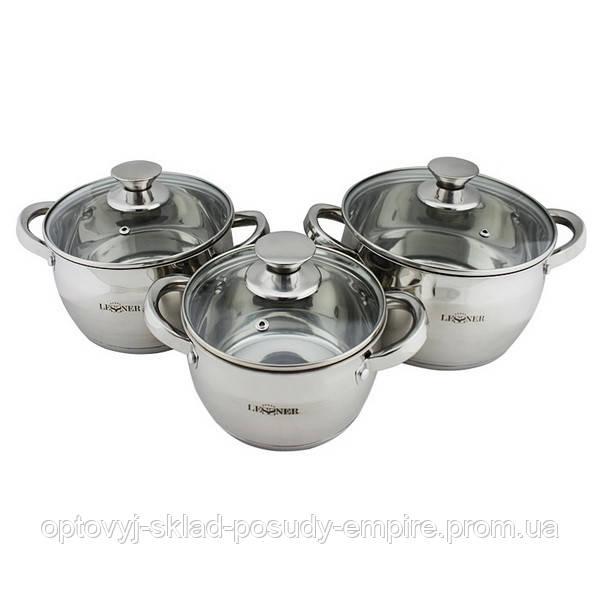 Набор посуды кастрюли с крышками 3шт с капсульным дном 1.7/2.9/3.9 литра Lessner Apple 55859
