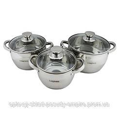 Набор посуды кастрюли с крышками 3шт с капсульным дном 2/3/4литра Lessner Apple 55859