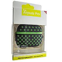 Силиконовый чехол Aare для наушников AirPods Pro Черный-Салатовый (00007694)