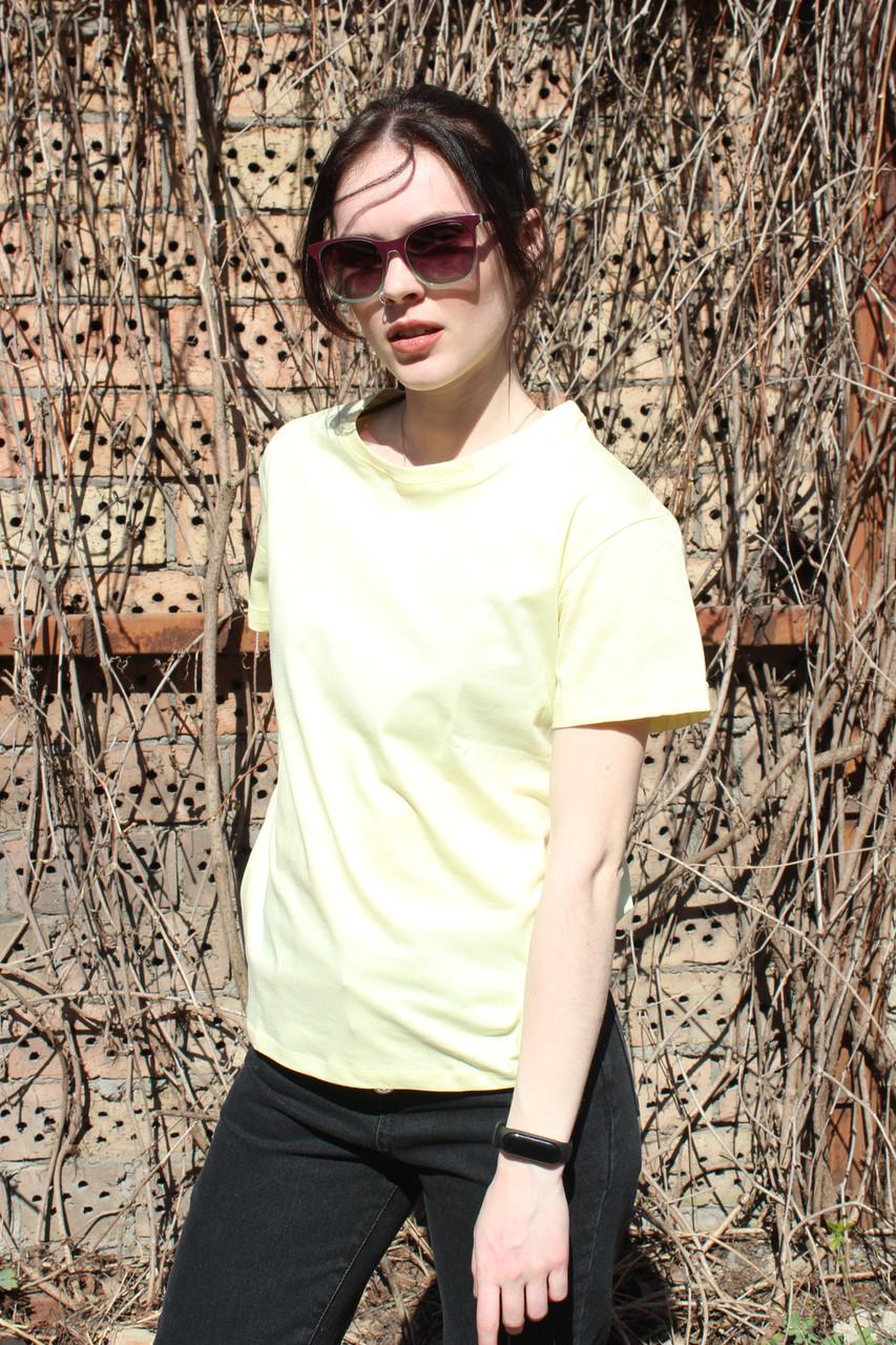 Футболка женская БАЗОВАЯ трикотажная, желтый. Оптом