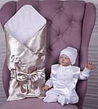 Летний комплект для новорожденного мальчика на выписку Ангел+Фрак New, золотой с белым, фото 7