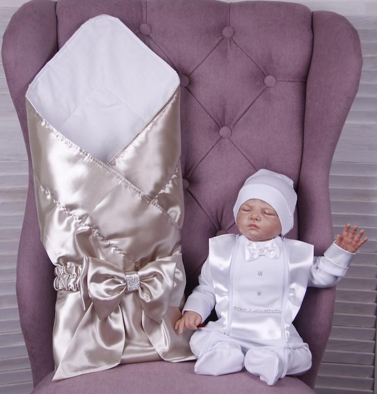 Летний комплект для новорожденного мальчика на выписку Ангел+Фрак New, золотой с белым