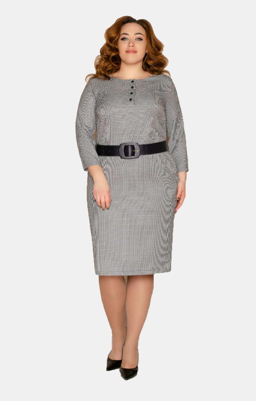 Стильное деловое платье с поясом 50-56 р ( синий, коричневый )