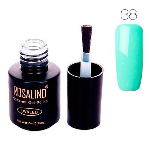 Гель-лак для ногтей маникюра 7мл Rosalind, шеллак, 38 светло-бирюзовый 2000-05236