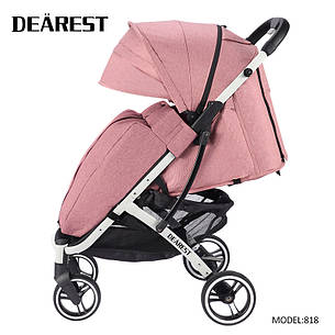 Коляска Dearest 818 Пурпурно-Розовая, рама белая, фото 2