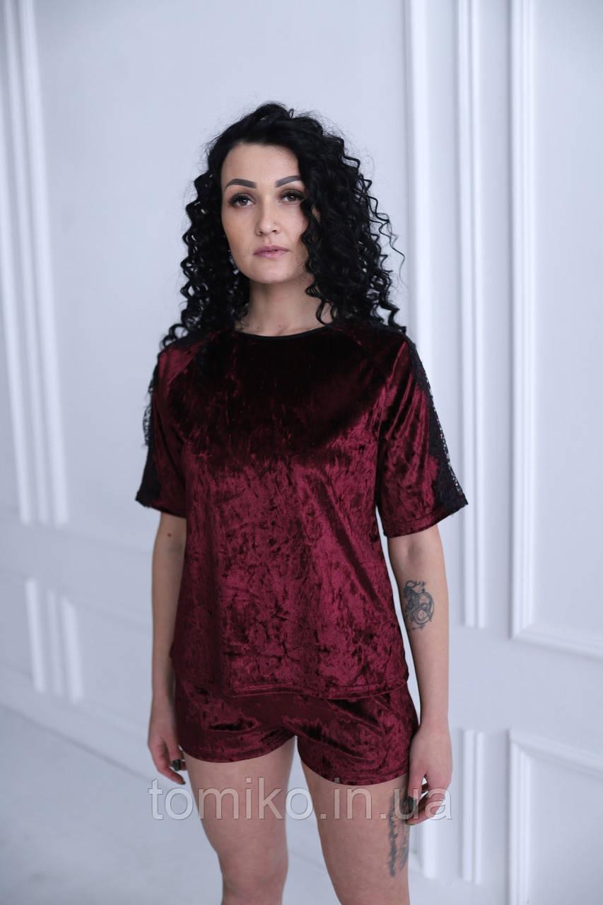 Молодежная велюровая пижама с кружевом (футболка+шорты)