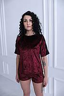 Молодежная велюровая пижама с кружевом (футболка+шорты), фото 1