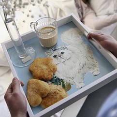 Деревянный поднос 33х33х4см Белая кошка