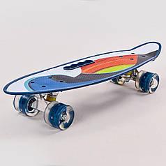 Скейтборд круїзер пластиковий PC дека з отвором і світяться колесами HB-31B-1 (PU светящ, р-р 60х17см, синій)