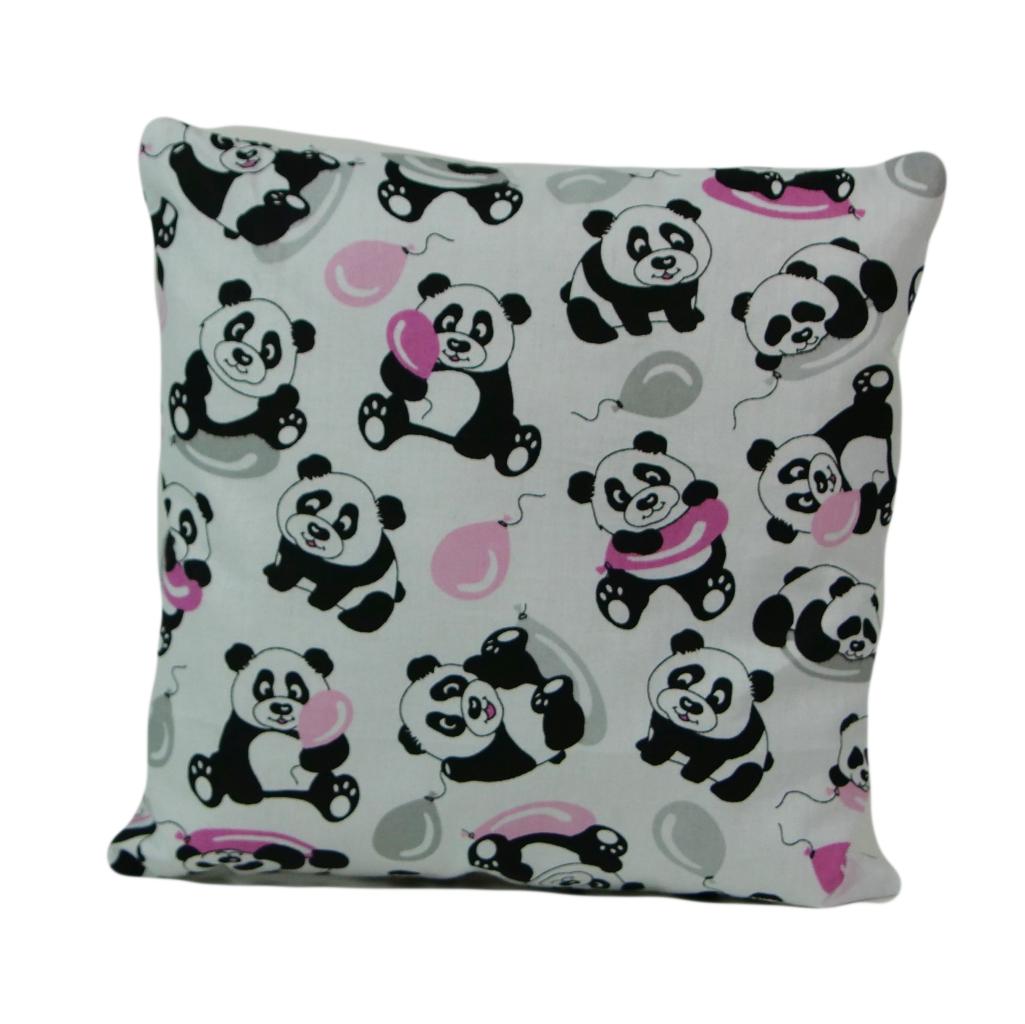 Наволочка, 30*30 см, (хлопок), (панды с шарами)