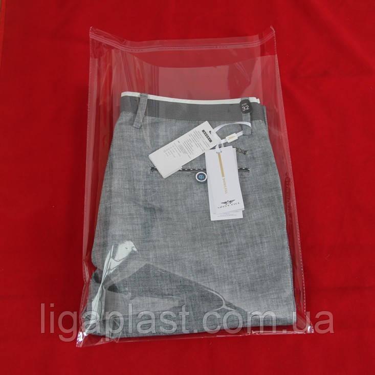 Полипропиленовые пакеты с клапаном и клеевой полосой 300-400мм+кл. 25мкм
