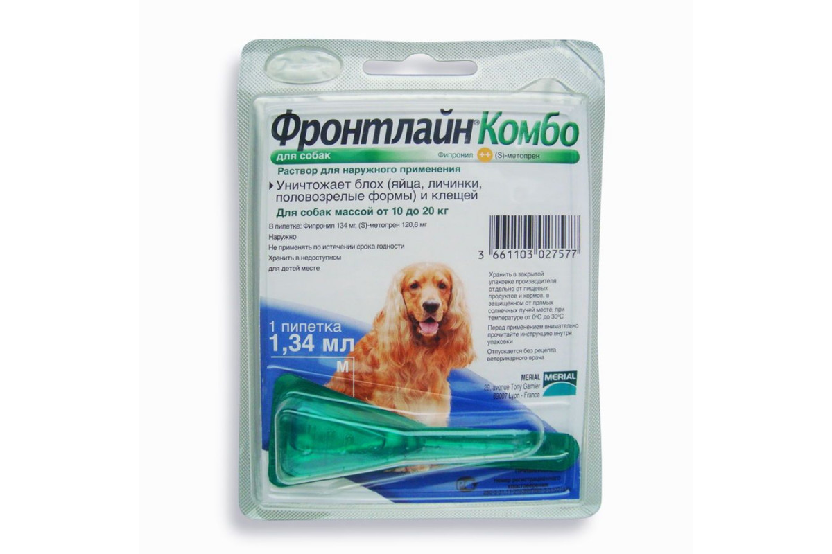 Frontline Combo Merial (Фронтлайн Комбо Мериаль). Капли от блох и клещей для собак 10-20 кг (M)