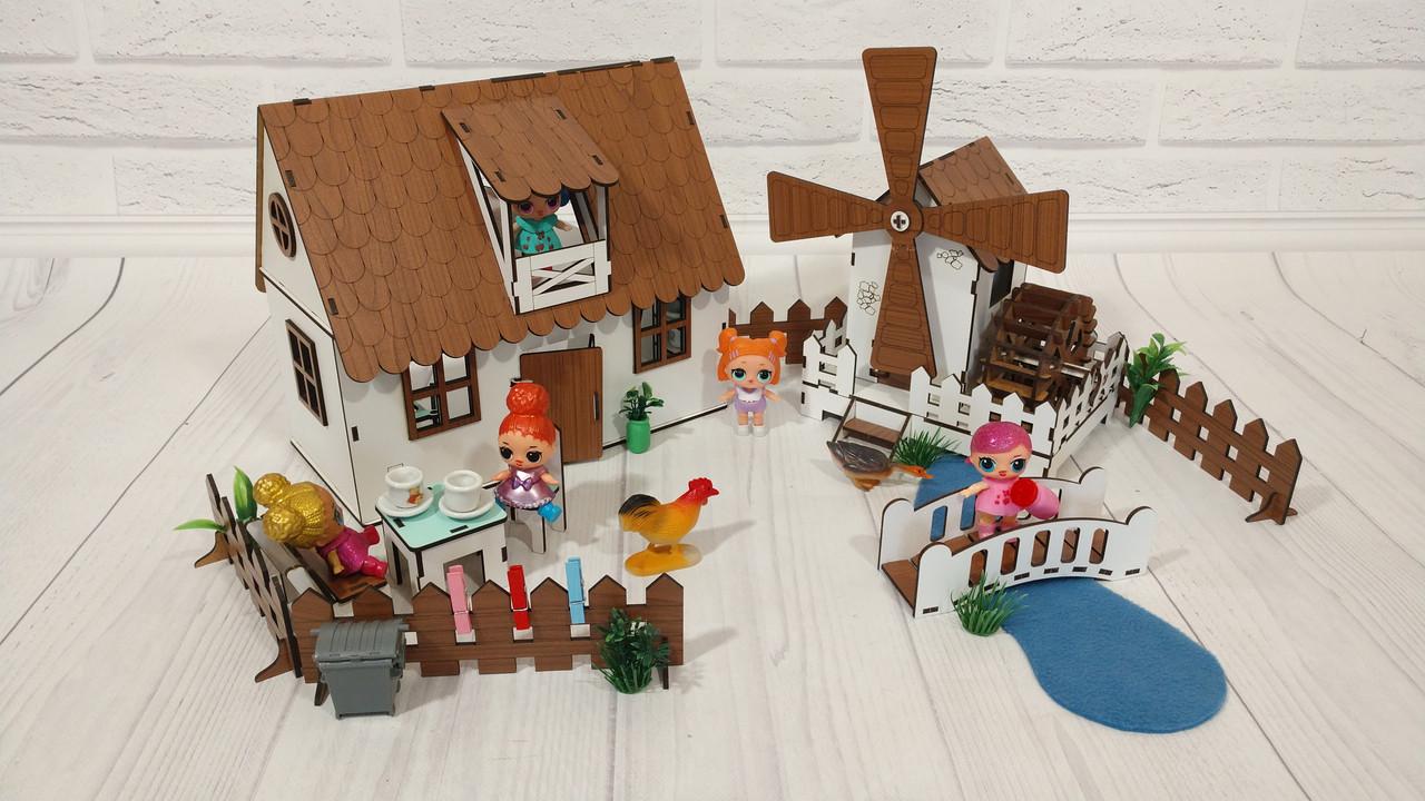 Сельский домик для кукол LOL с мельницей, мебелью и светом