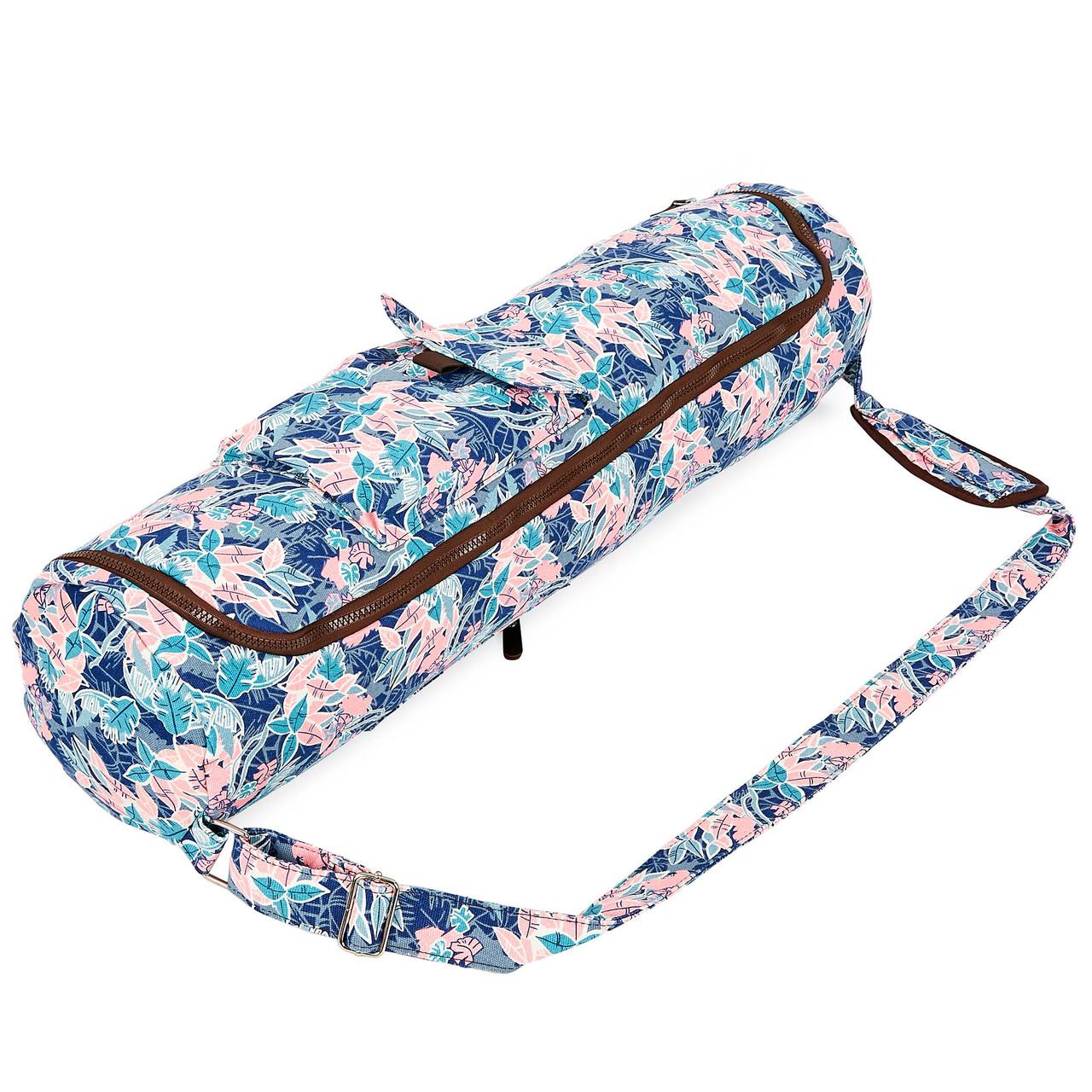 Сумка для йога коврика Yoga bag KINDFOLK FI-8362-2 (размер 17смх72см, полиэстер, хлопок, розовый-голубой)