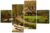 Модульная картина Домик в лесу 106*71 см Код: W523-S