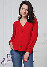 Бежевая классическая блуза с длинным рукавом v-образный вырез, фото 3