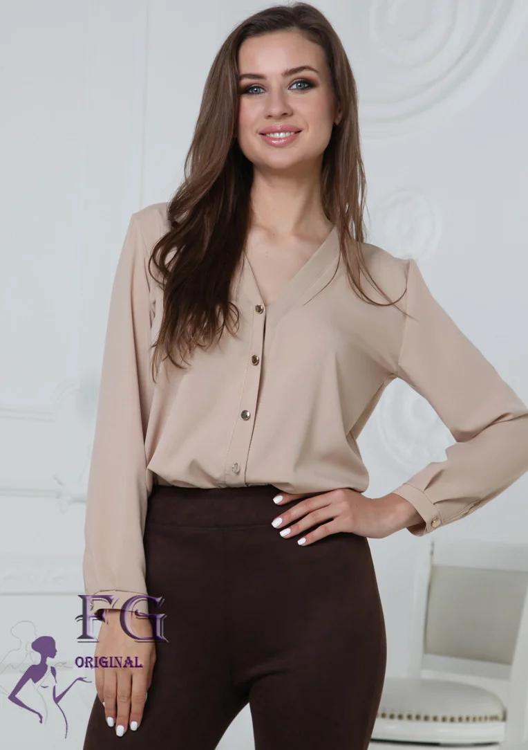 Бежевая классическая блуза с длинным рукавом v-образный вырез