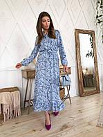 Стильное длинное платье с цветочным принтом