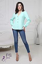 Стильная женская классическая блуза с длинным рукавом v-образный вырез, мятный, фото 2