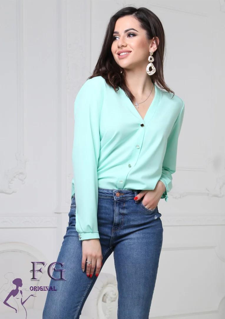 Стильная женская классическая блуза с длинным рукавом v-образный вырез, мятный