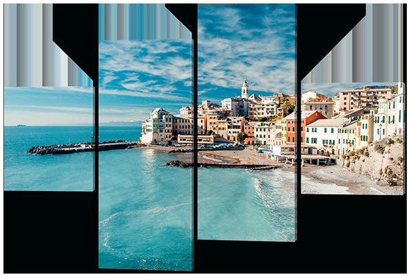 Модульная картина Морской пейзаж Чинкве-Терре. Италия 126*85 см Код:W514M