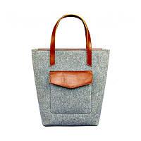 Фетровая женская сумка Шоппер D.D. с кожаными коричневыми вставками, фото 1