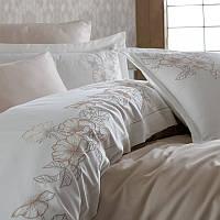 Комплект постельного белья сатин люкс c вышивкой евро Dantela Vita Hare bej