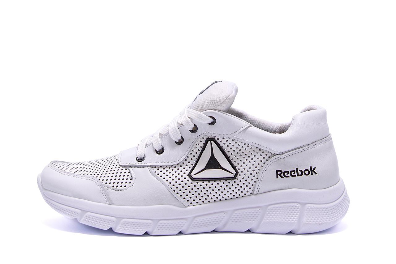 Мужские кожаные летние кроссовки, перфорация Reebok Classic  White (;)