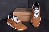 Мужские кожаные летние кроссовки, перфорация Reebok Classic Brown, фото 7