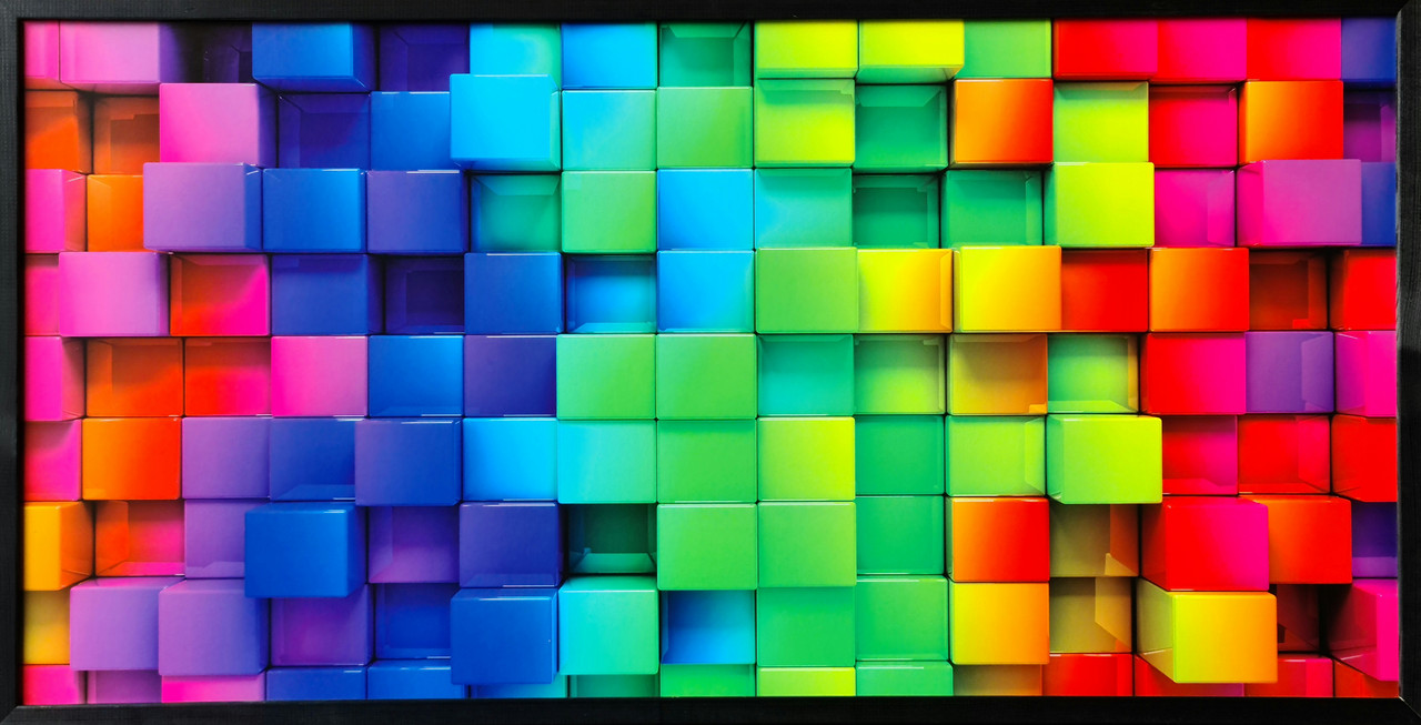 "Фотокартина в деревянной раме ""Squares 1"", 50х100 см"