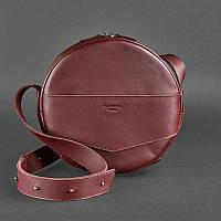 Кожаная женская круглая сумка-рюкзак Maxi бордовая, фото 1