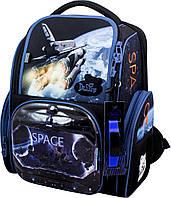 Рюкзак  школьный каркасный ортопедический для мальчика 1-4 класса + сменка+часы 26 х15,5 х36см Delune 11-030
