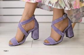 Женские босоножки на каблуке, Лиловые Замшевые