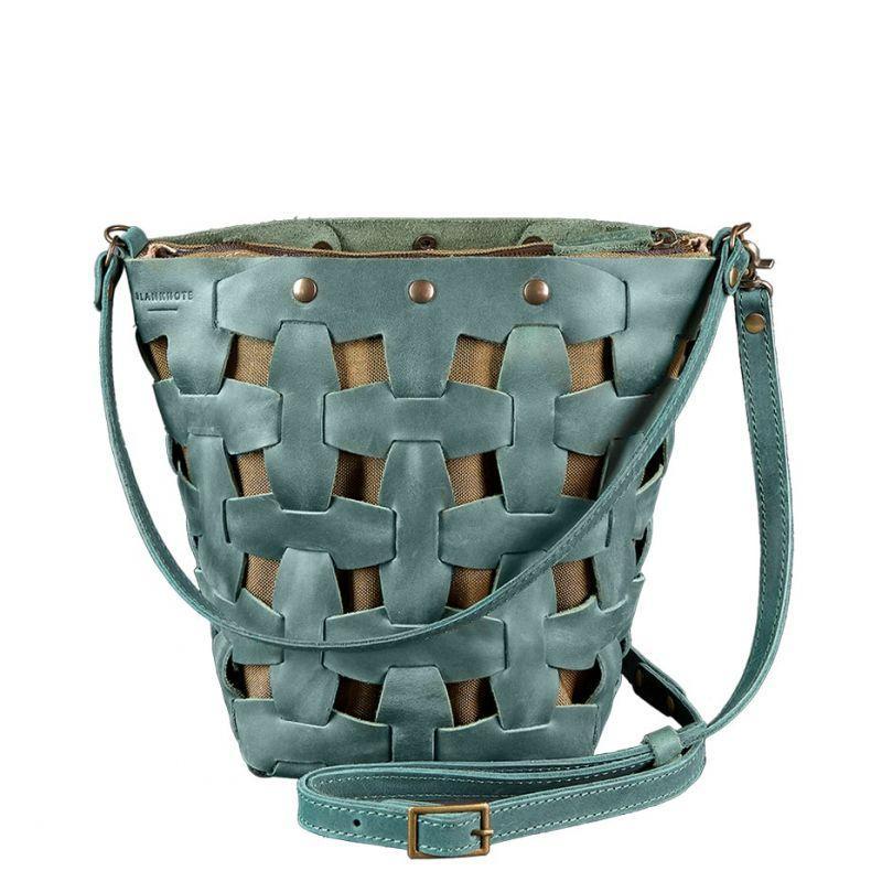 Кожаная плетеная женская сумка Пазл M зеленая Crazy Horse