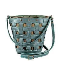 Кожаная плетеная женская сумка Пазл M зеленая Crazy Horse, фото 1