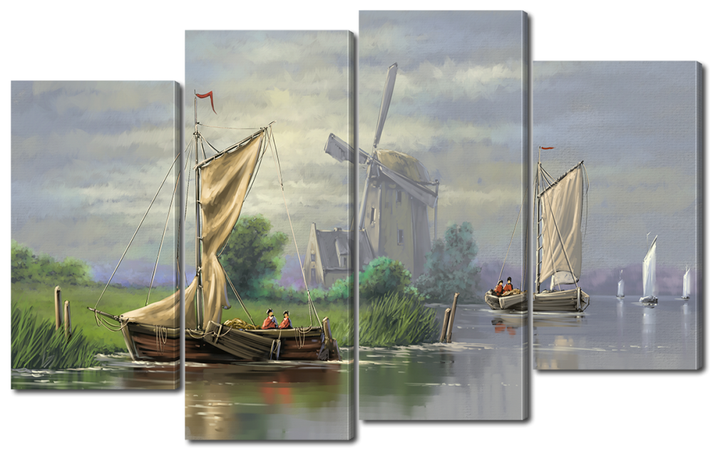 Модульная картина Мельница и лодки 114x69 см W2387