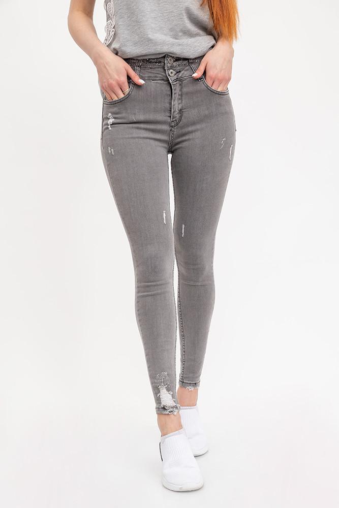 Женские джинсы классические серые 0738