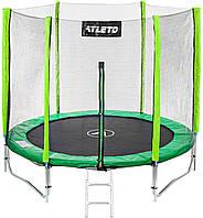 Батут 183 см спортивный игровой Atleto с двойными ногами с сеткой и лестницей для детей и взрослых