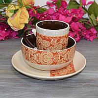 "Набор посуды для завтрака ""Ornament"" (тарелка, чашка, пиала), фото 1"