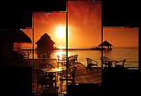 Модульная картина Закат над океаном 126*85 см Код: W467M