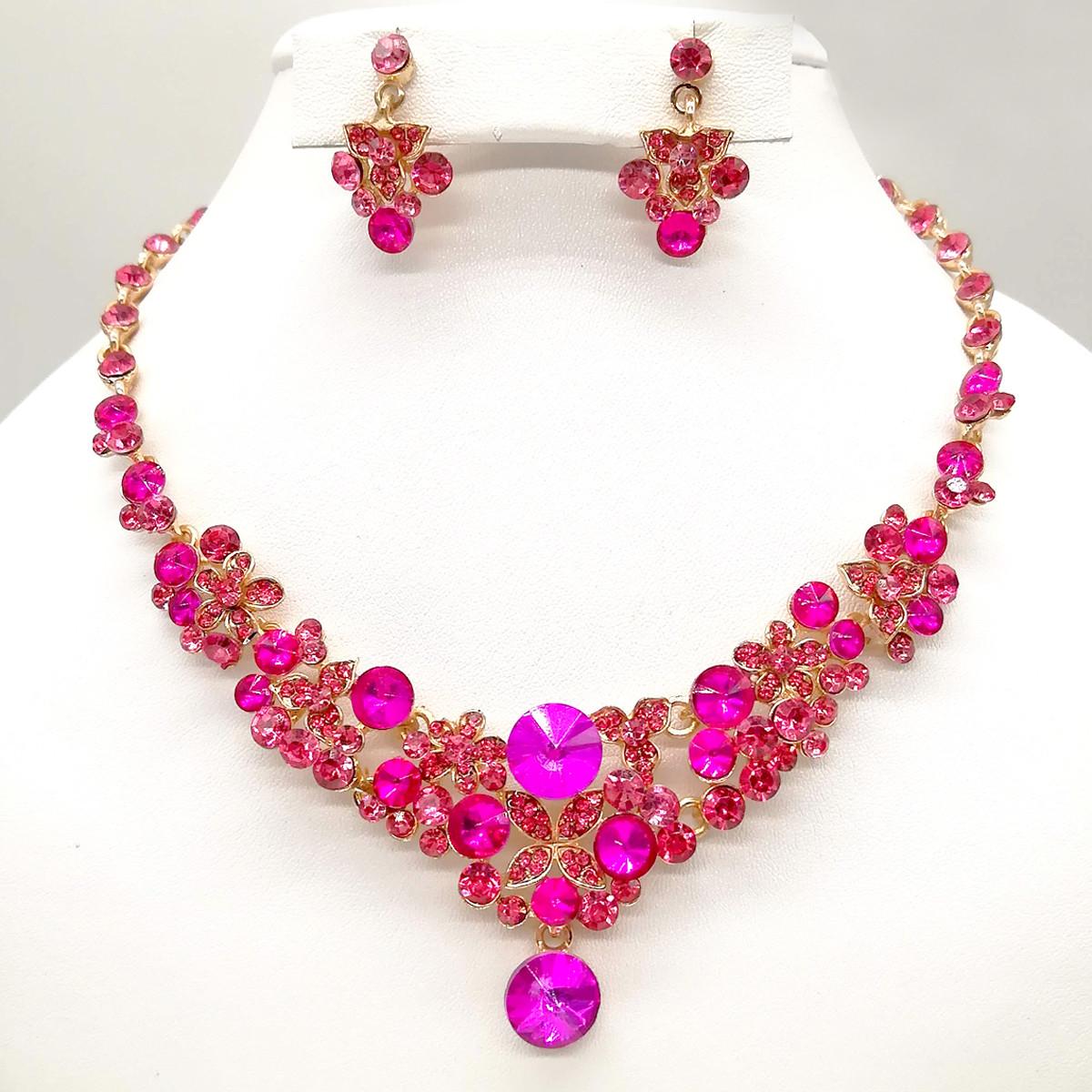 Комплект SONATA (Кольє + сережки), рожеві фіаніти, позолота 18К, 63370