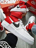 ДЕМИСЕЗОН! Мужские кроссовки Nike Air Force 1 Hight NBA red/white, фото 1