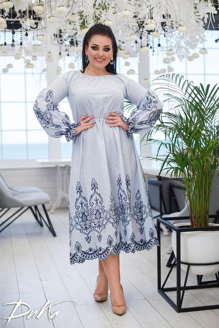 Женское нарядное платье сарафан батист+вышивка батал размер: 50-52, 54-56