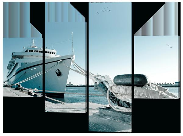 Модульная картина Корабль на причале 126*94 см Код: W439M